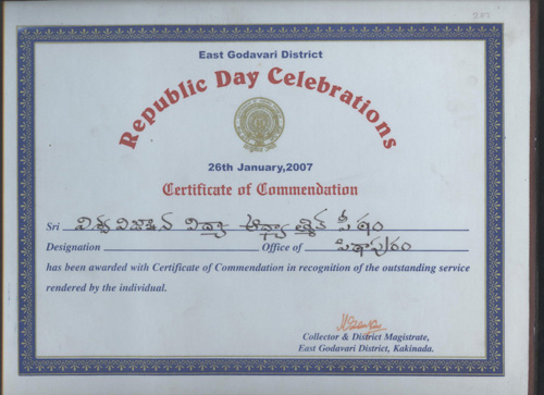 Certificate of Commendation