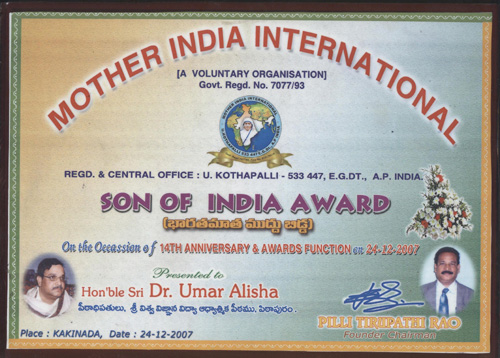 Son of India Certificate